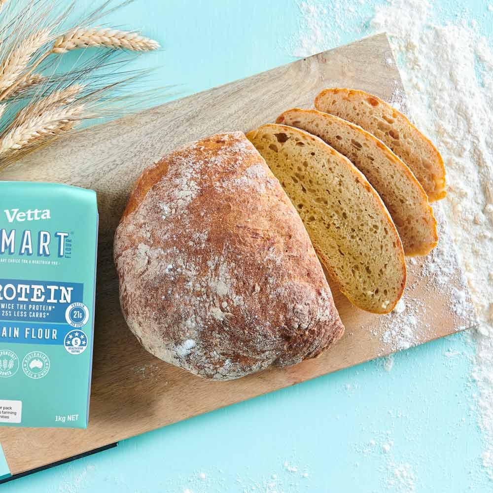 No knead bread with Vetta SMART Protein Flour