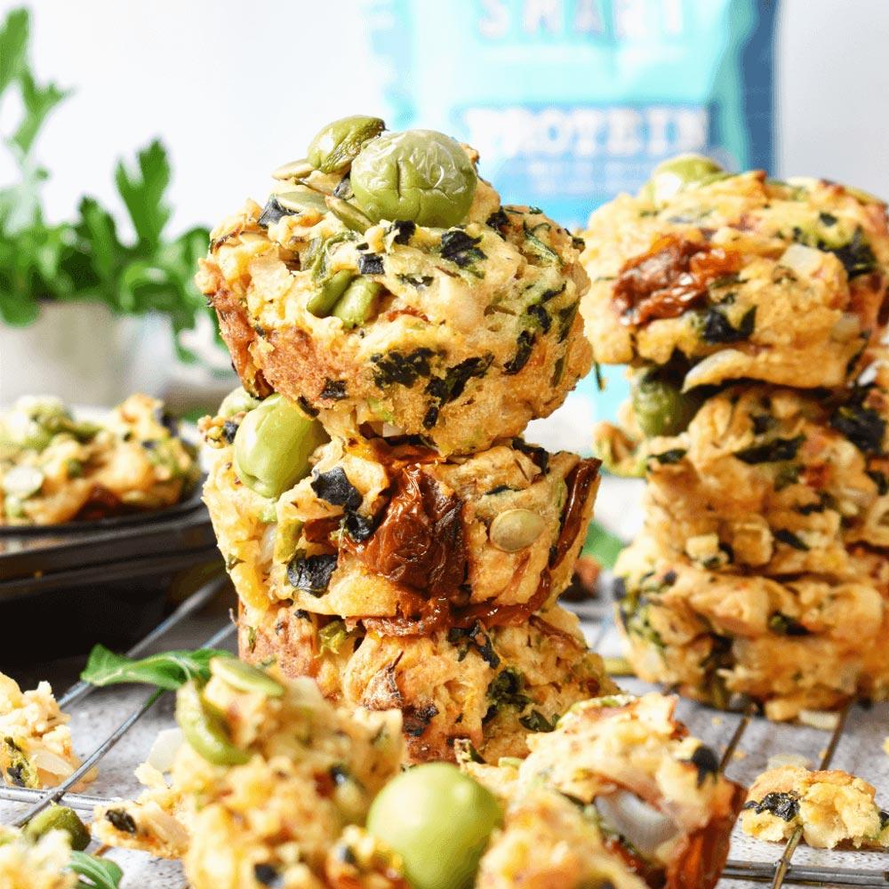 Savoury Sun-dried Tomato & Olive Muffins with Vetta SMART Protein Flour