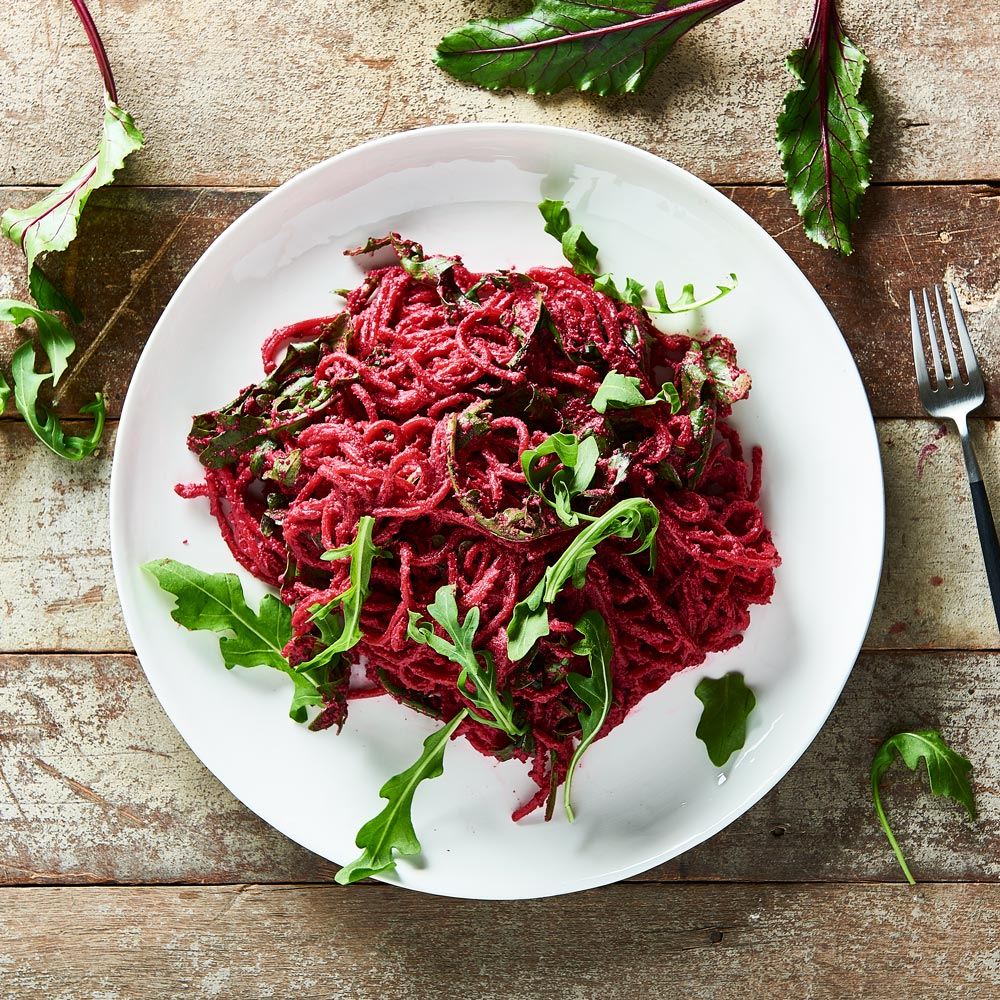 Spaghetti with Beetroot Pesto