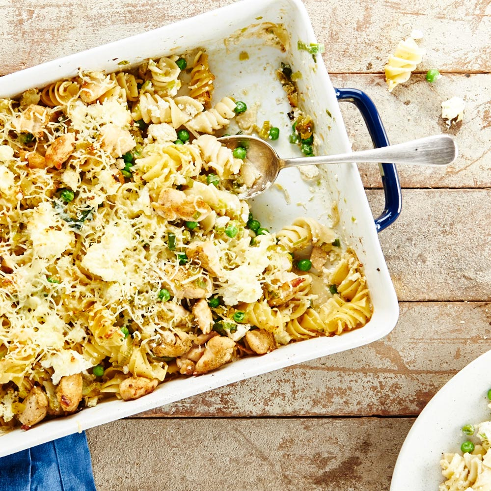 Chicken, Leek and Pea with Mountain Pepper Leaf Pasta Bake