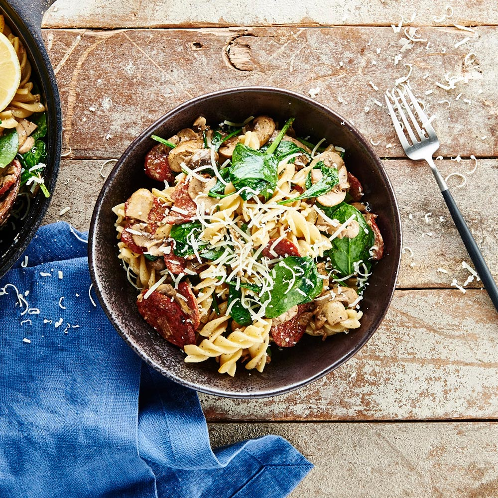 Chorizo Pasta Salad with Lemon Myrtle spice
