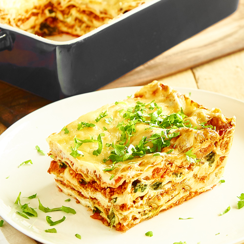 Classic Lasagna with Spinach Leaves and Ricotta