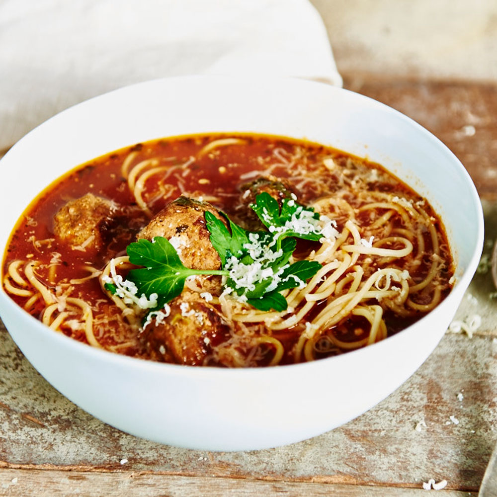 Spaghetti Meatball Soup with SMART Fibre Spaghetti