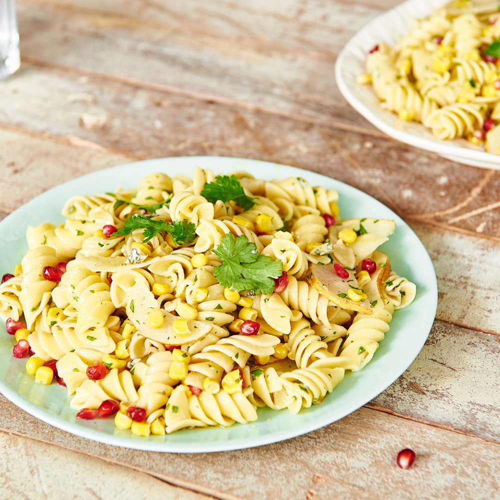 Pomegranate, Sweetcorn, Pear, Blue Cheese and Chilli Oil Pasta Salad