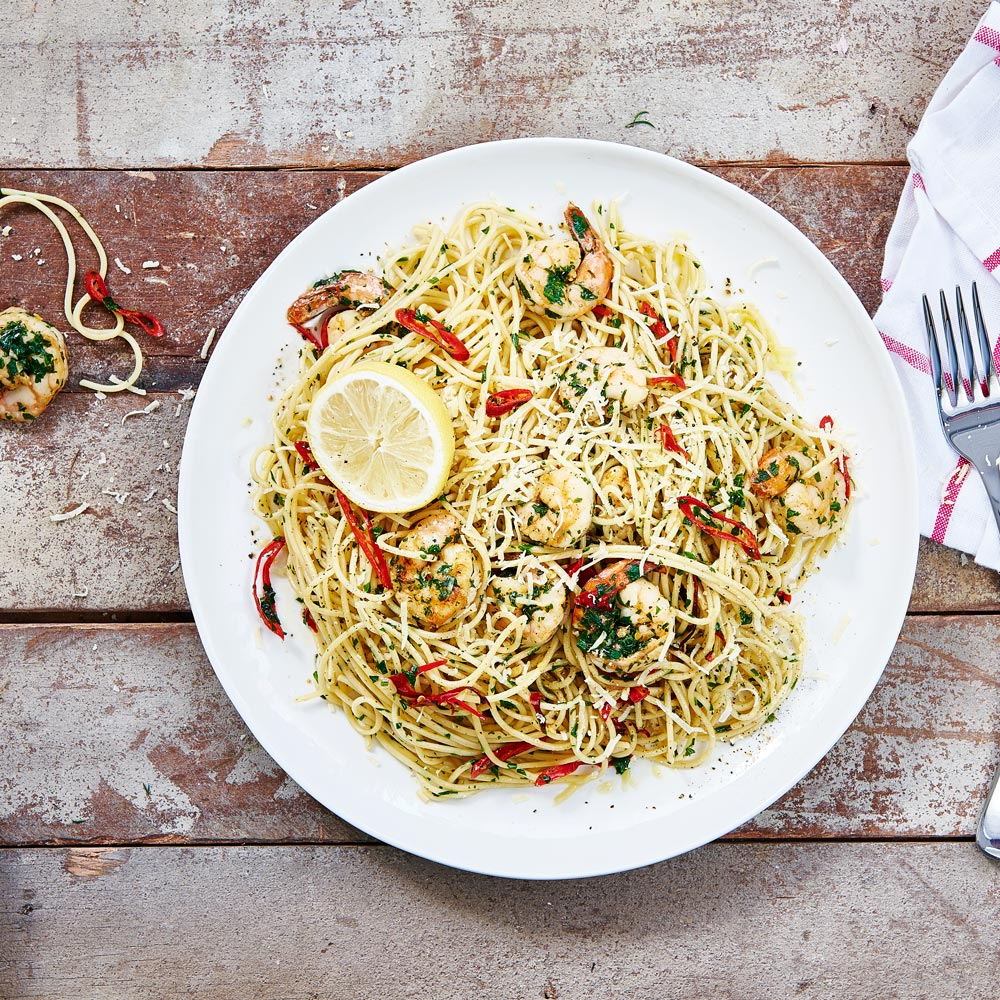 SMART Fibre Spaghetti with Prawns with Parsley