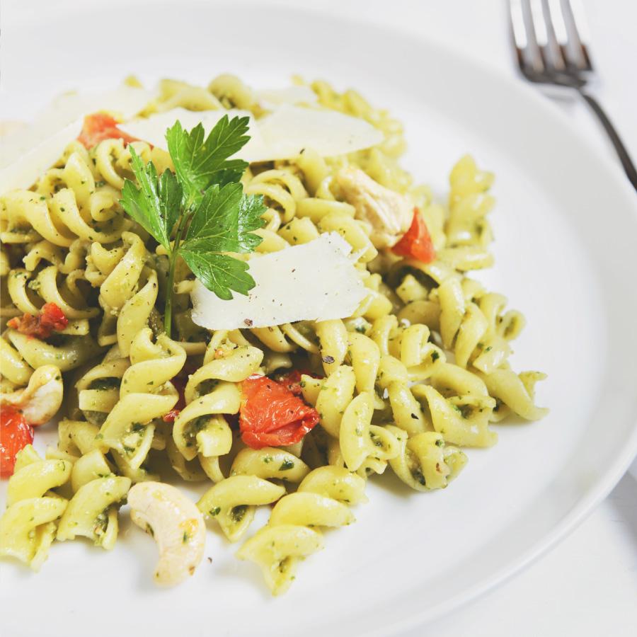 Broccoli Pesto and Sundried  Tomato Corkscrew