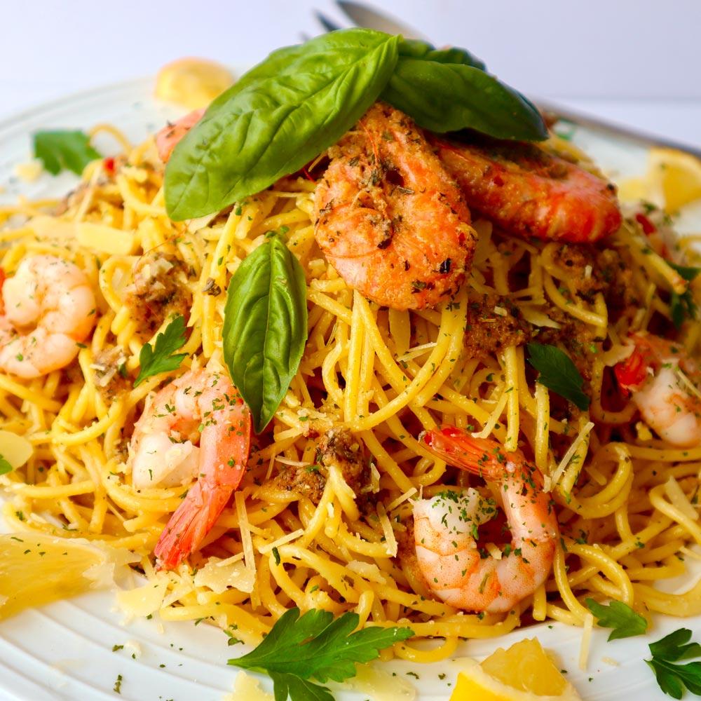 Lemon and Garlic Butter Prawns with Vetta Rural Aid Spaghetti